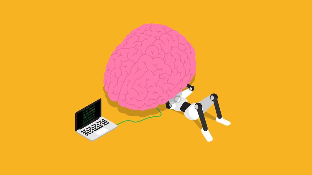 robot working on a brain