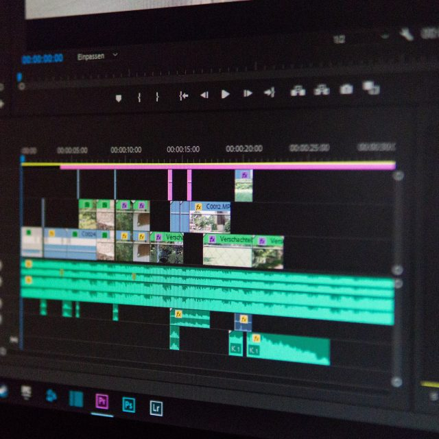 A computer screen with video editing setup
